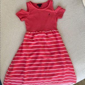 Salmon pink nautical peek-a-boo shoulder dress